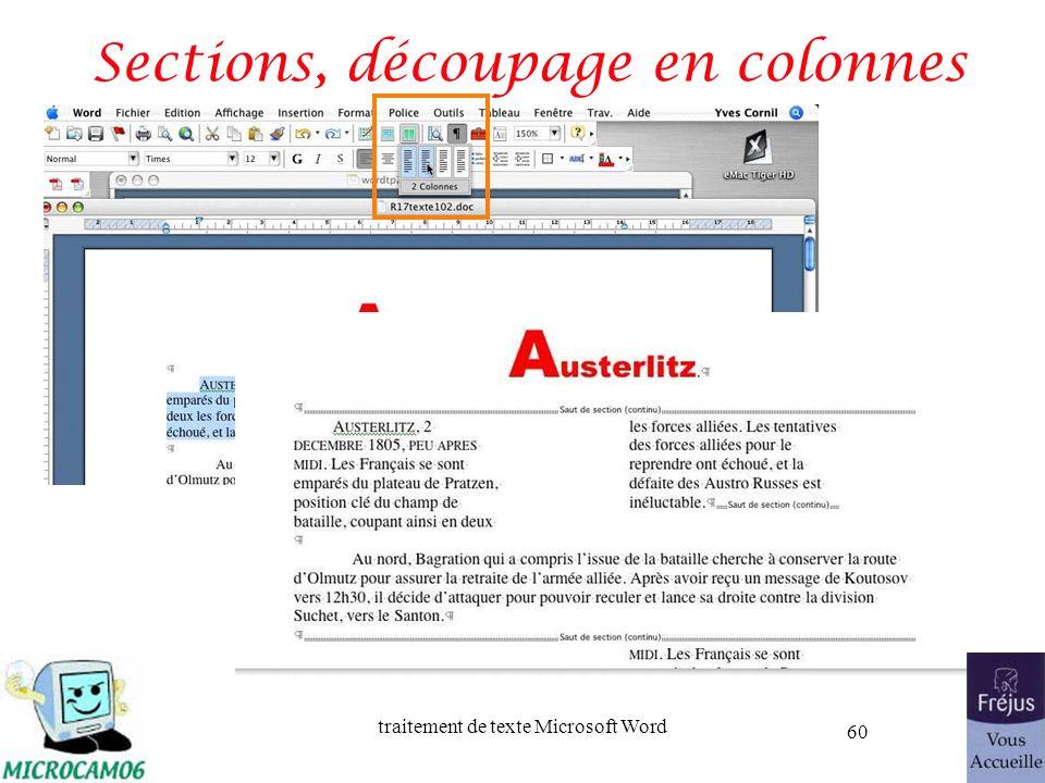 traitement de texte Microsoft Word 60 Sections, découpage en colonnes