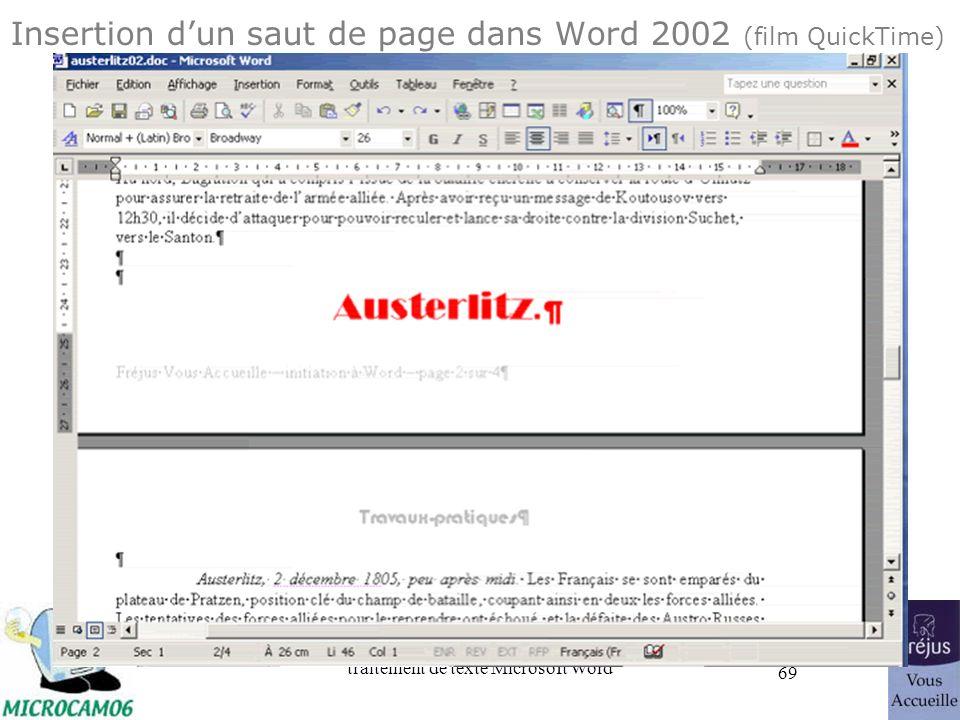 traitement de texte Microsoft Word 69 Insertion dun saut de page dans Word 2002 (film QuickTime)