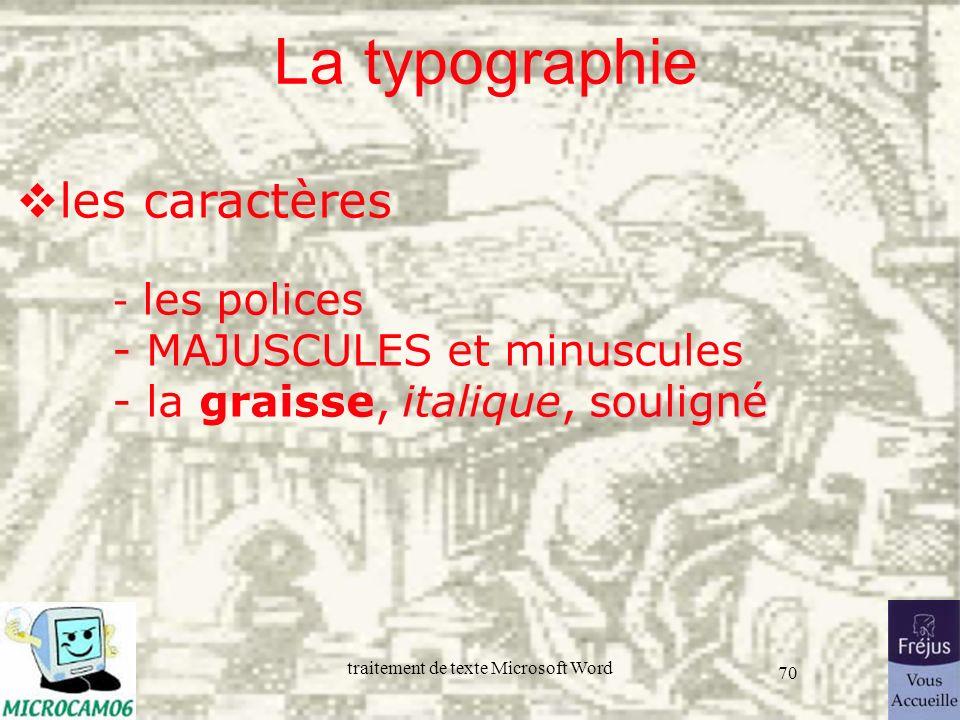 traitement de texte Microsoft Word 70 La typographie souligné les caractères - les polices - MAJUSCULES et minuscules - la graisse, italique, souligné