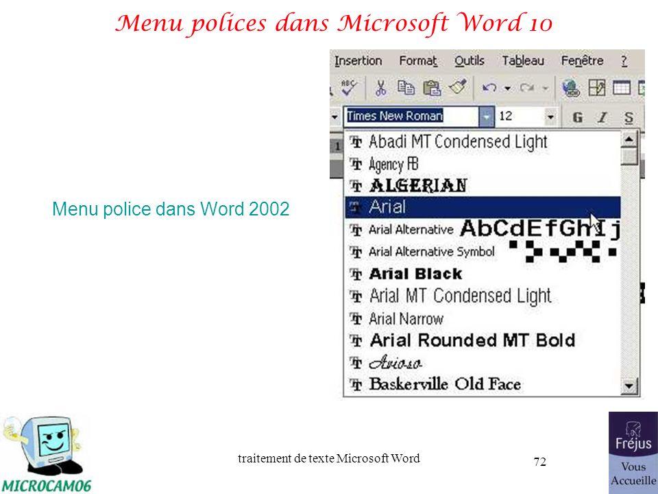 traitement de texte Microsoft Word 72 Menu polices dans Microsoft Word 10 Menu police dans Word 2002