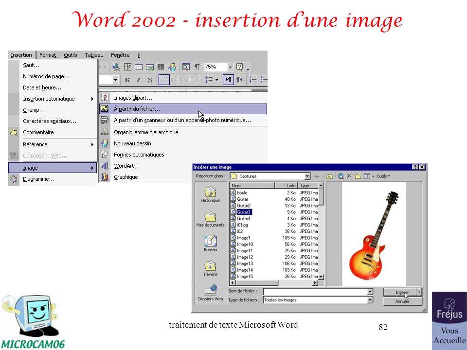 traitement de texte Microsoft Word 82 Word 2002 - insertion dune image