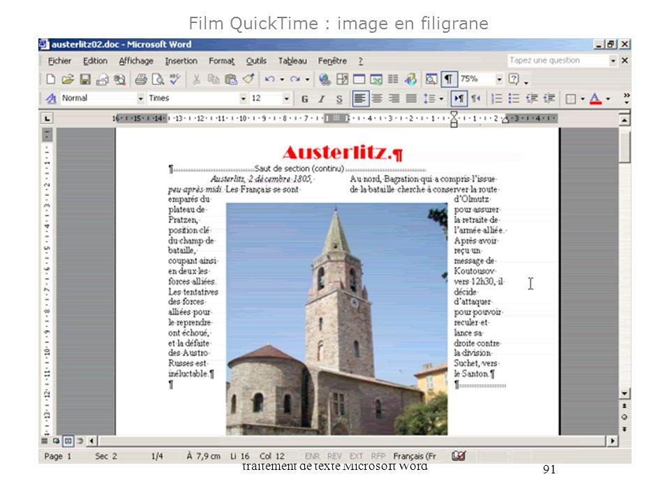 traitement de texte Microsoft Word 91 Film QuickTime : image en filigrane