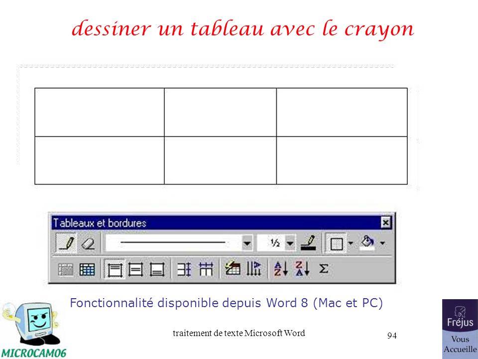 traitement de texte Microsoft Word 94 dessiner un tableau avec le crayon Fonctionnalité disponible depuis Word 8 (Mac et PC)