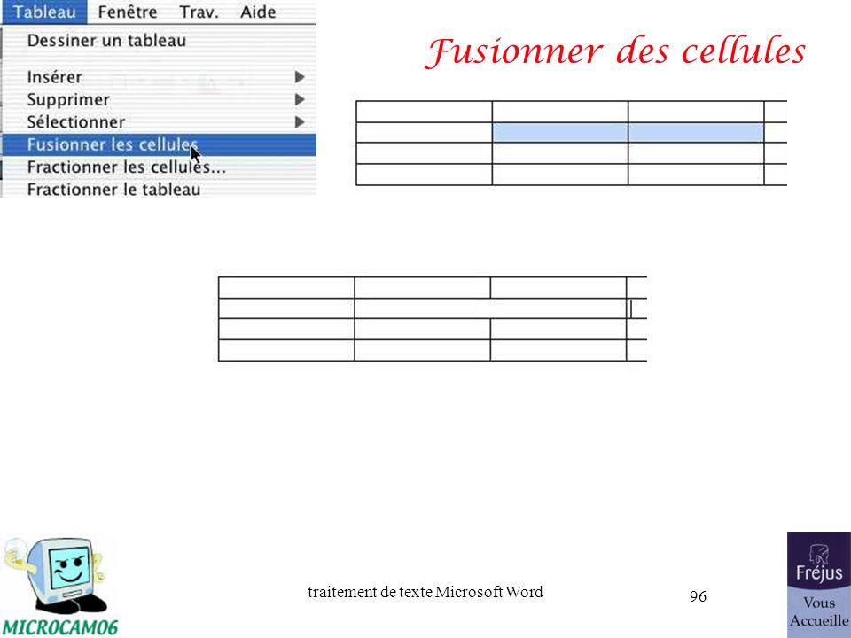 traitement de texte Microsoft Word 96 Fusionner des cellules