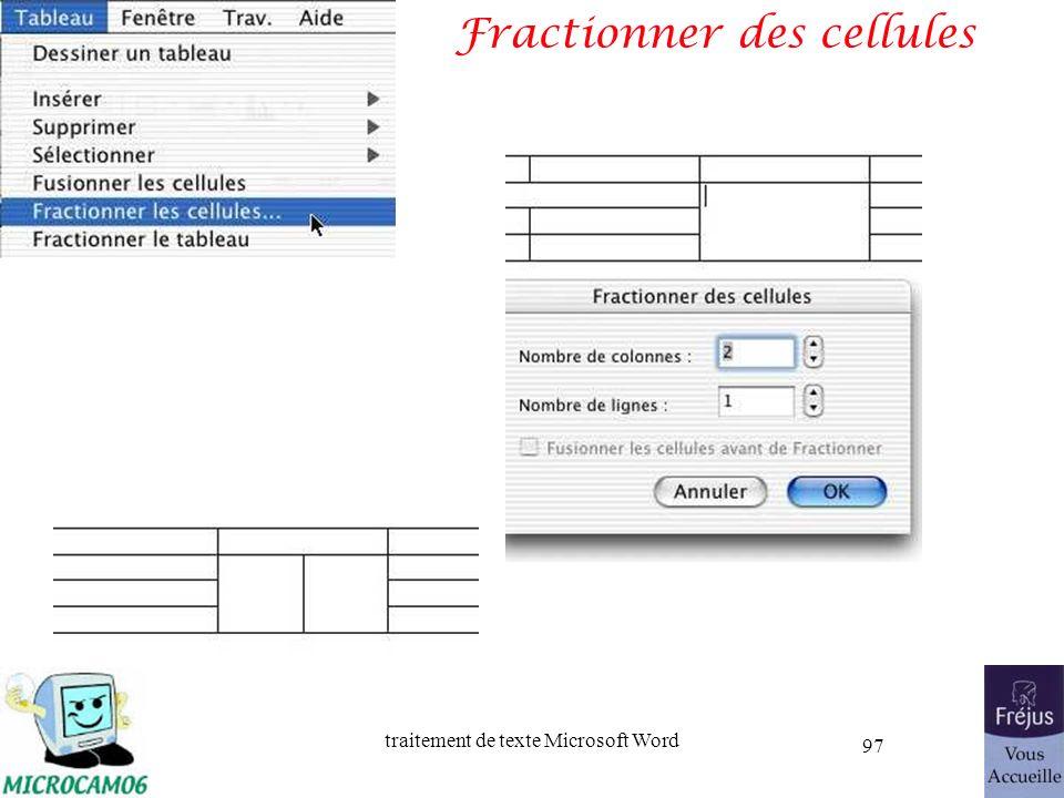 traitement de texte Microsoft Word 97 Fractionner des cellules
