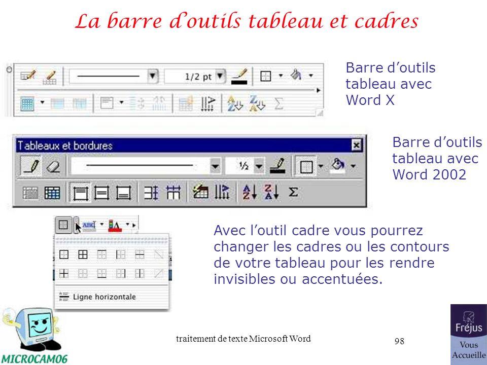 traitement de texte Microsoft Word 98 La barre doutils tableau et cadres Barre doutils tableau avec Word X Barre doutils tableau avec Word 2002 Avec l