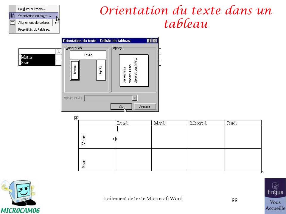 traitement de texte Microsoft Word 99 Orientation du texte dans un tableau