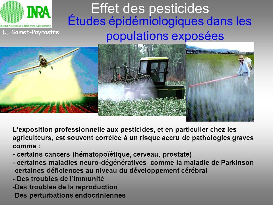 Effet des pesticides Études épidémiologiques dans les populations exposées L. Gamet-Payrastre Lexposition professionnelle aux pesticides, et en partic
