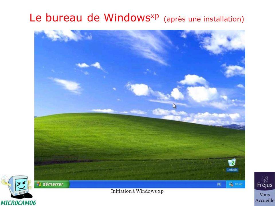 Initiation à Windows xp Le bureau de Windows xp (après une installation)
