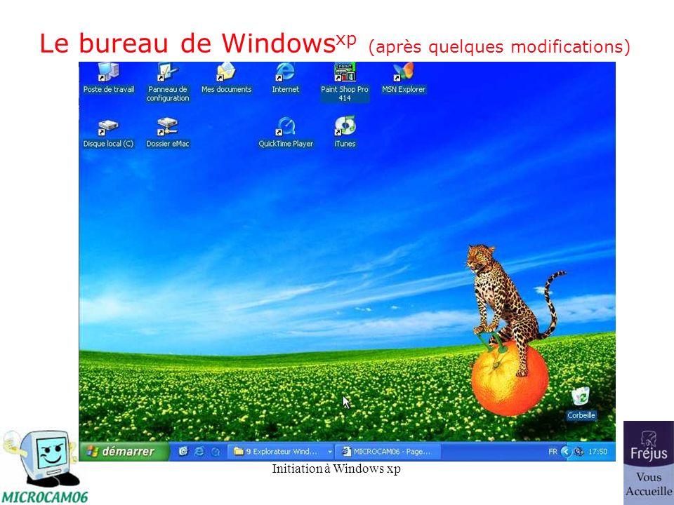 Initiation à Windows xp Le bureau de Windows xp (après quelques modifications)