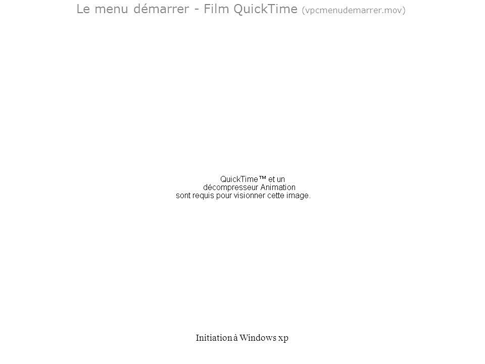 Initiation à Windows xp Le menu démarrer - Film QuickTime (vpcmenudemarrer.mov)