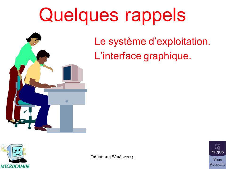 Initiation à Windows xp Le système dexploitation Le système dexploitation (Operating System, O.S.) est le programme principal qui réside en mémoire vive (RAM) et qui communique avec les différents composants électroniques (mémoire, processeur, périphériques…).