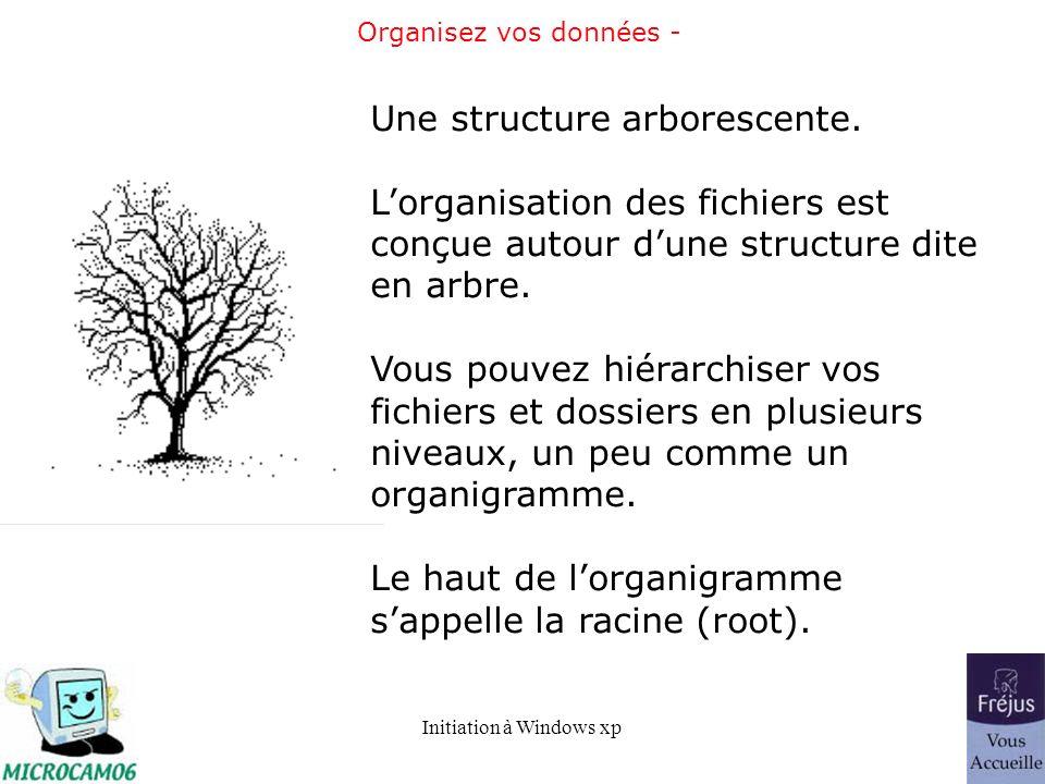 Initiation à Windows xp Organisez vos données - Une structure arborescente. Lorganisation des fichiers est conçue autour dune structure dite en arbre.