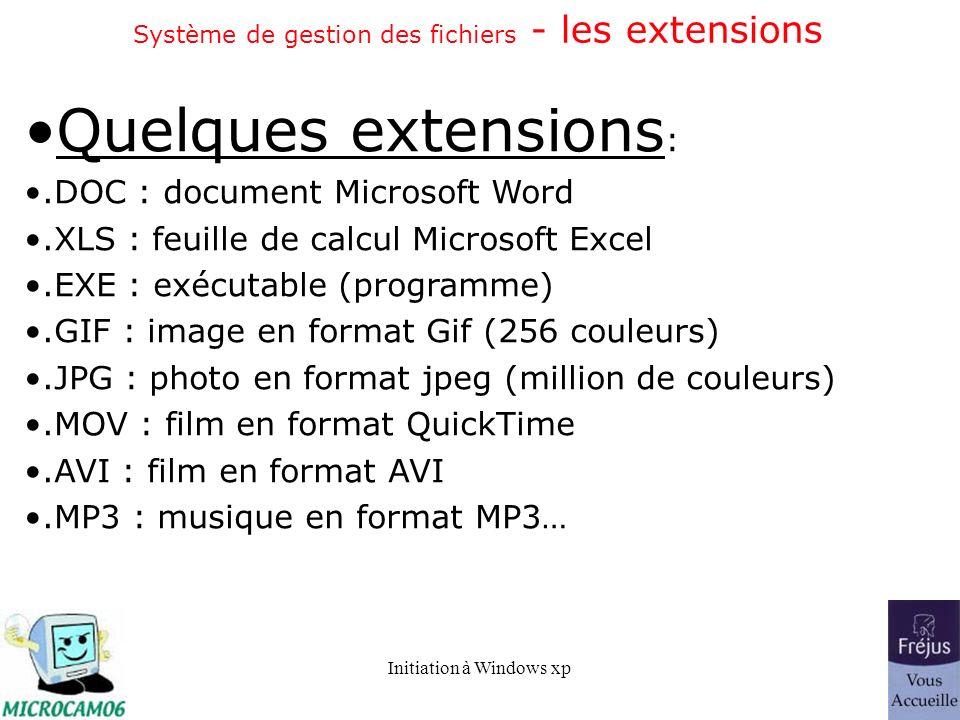 Initiation à Windows xp Système de gestion des fichiers - les extensions Quelques extensions :.DOC : document Microsoft Word.XLS : feuille de calcul M