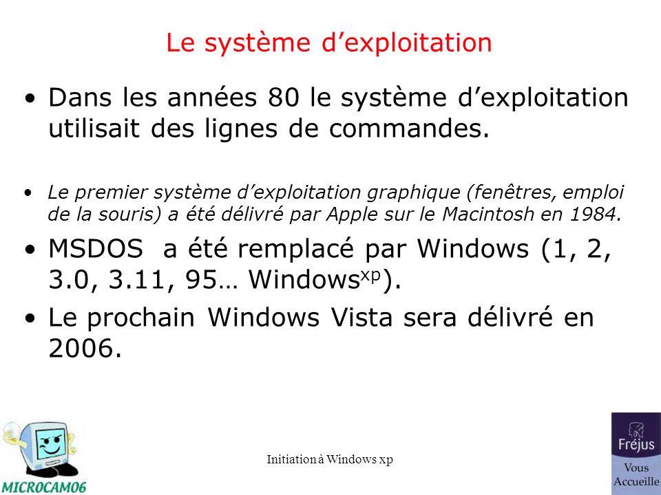 Initiation à Windows xp Le système dexploitation Dans les années 80 le système dexploitation utilisait des lignes de commandes. Le premier système dex