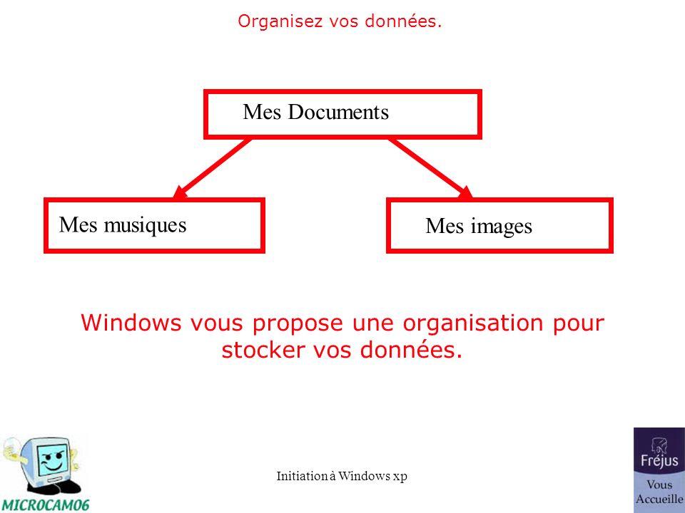 Initiation à Windows xp Organisez vos données. Mes Documents Mes musiques Mes images Windows vous propose une organisation pour stocker vos données.