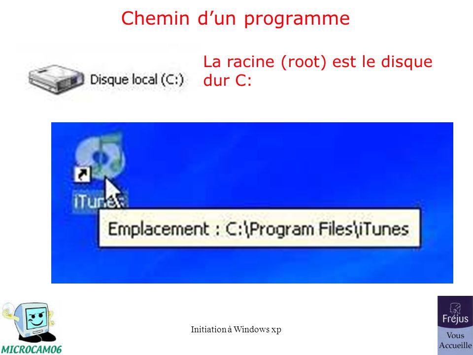 Initiation à Windows xp Chemin dun programme La racine (root) est le disque dur C: