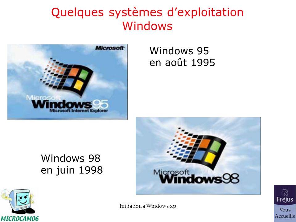 Initiation à Windows xp Quelques systèmes dexploitation Windows Windows Me octobre 2000 Windows xp décembre 2001