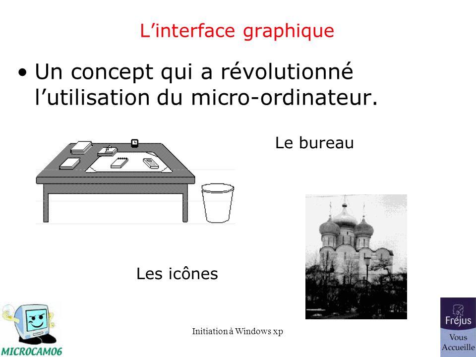 Initiation à Windows xp Linterface graphique Un concept qui a révolutionné lutilisation du micro-ordinateur. Le bureau Les icônes
