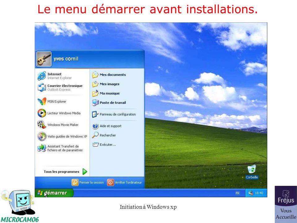 Initiation à Windows xp Le menu démarrer avant installations.