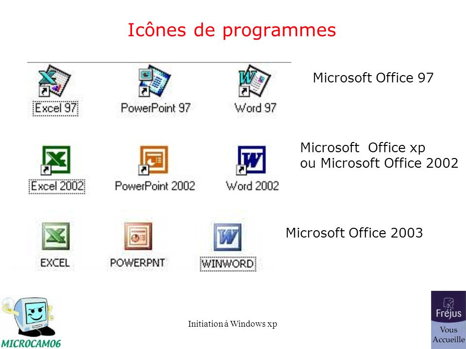 Initiation à Windows xp Icônes de programmes Microsoft Office 97 Microsoft Office xp ou Microsoft Office 2002 Microsoft Office 2003