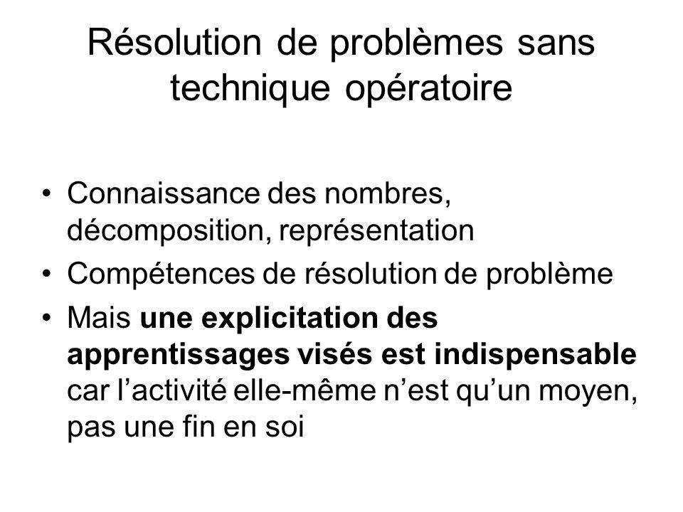 Résolution de problèmes sans technique opératoire Connaissance des nombres, décomposition, représentation Compétences de résolution de problème Mais u