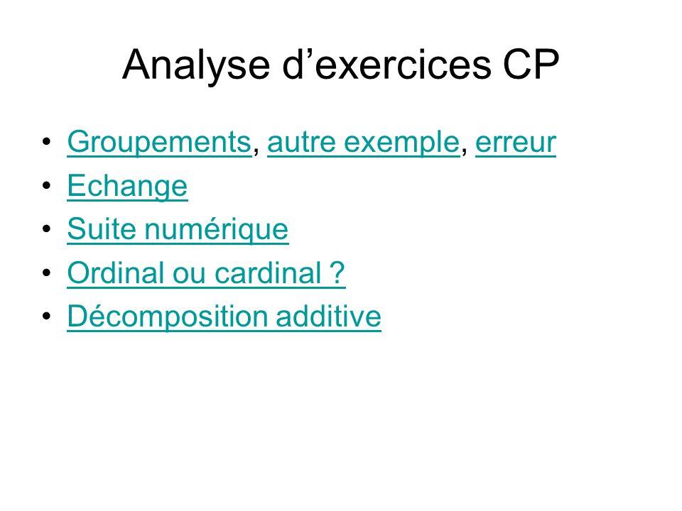 Analyse dexercices CP Groupements, autre exemple, erreurGroupementsautre exempleerreur Echange Suite numérique Ordinal ou cardinal ? Décomposition add