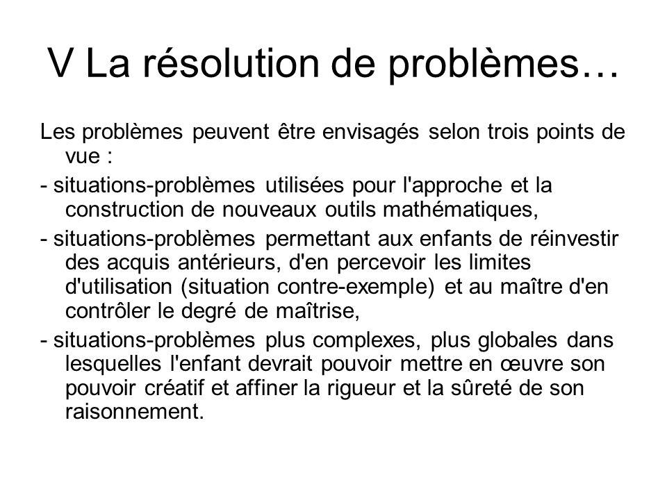 V La résolution de problèmes… Les problèmes peuvent être envisagés selon trois points de vue : - situations-problèmes utilisées pour l'approche et la
