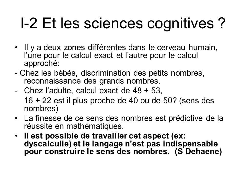 I-2 Et les sciences cognitives ? Il y a deux zones différentes dans le cerveau humain, lune pour le calcul exact et lautre pour le calcul approché: -