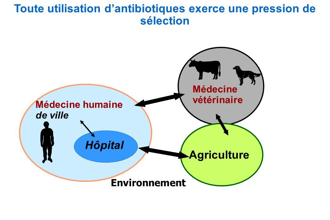 Médecine humaine de ville Médecine vétérinaire Hôpital Agriculture Environnement Toute utilisation dantibiotiques exerce une pression de sélection