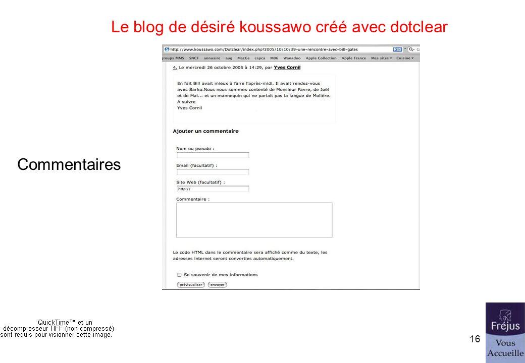 initiation au blog15 Le blog de désiré koussawo créé avec dotclear