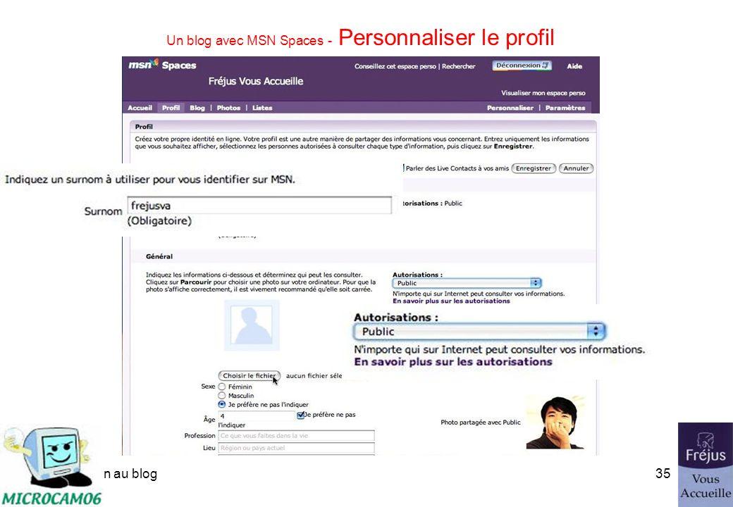 initiation au blog34 Un blog avec MSN Spaces - Personnaliser le profil Modifier le profil