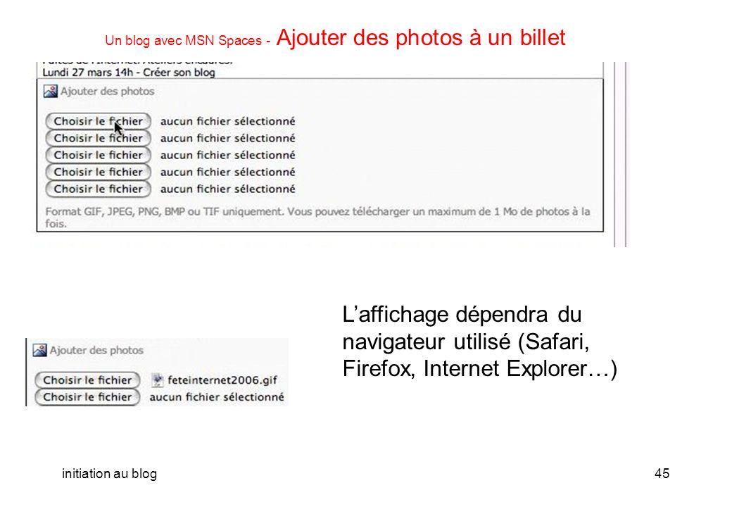 initiation au blog44 Un blog avec MSN Spaces - Ajouter un billet