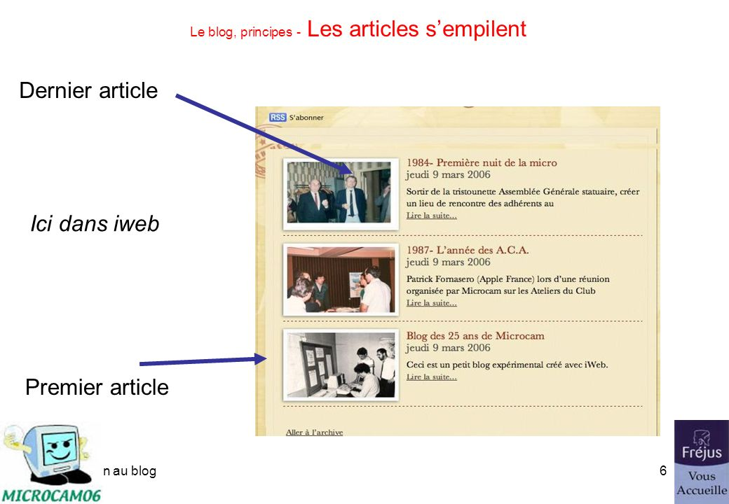 initiation au blog5 Le blog, principes - Les articles sempilent Premier article Dernier article