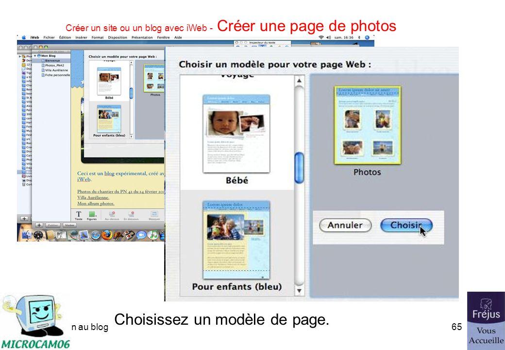 initiation au blog64 Créer un site ou un blog avec iWeb - Créer une page de photos