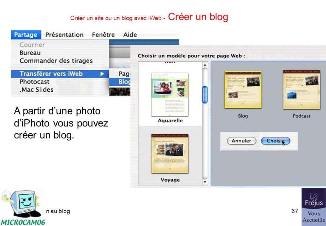 initiation au blog66 Créer un site ou un blog avec iWeb - Créer une page de photos Les images sont importées dans la page depuis iPhoto. Vous pouvez p