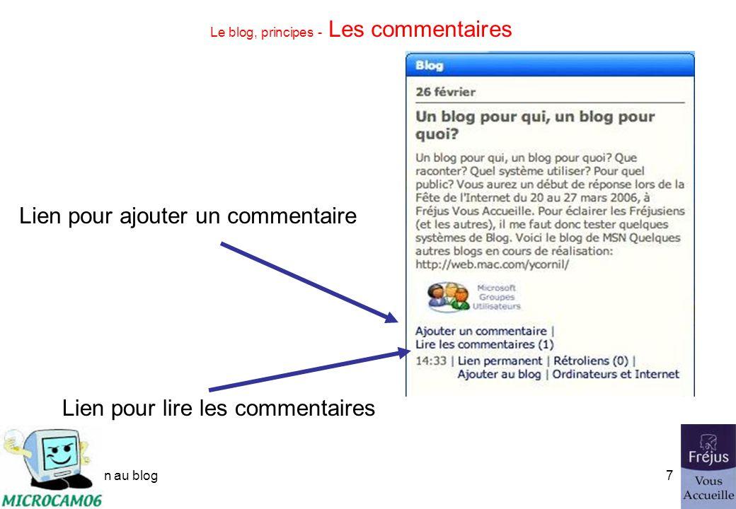 initiation au blog6 Le blog, principes - Les articles sempilent Premier article Dernier article Ici dans iweb