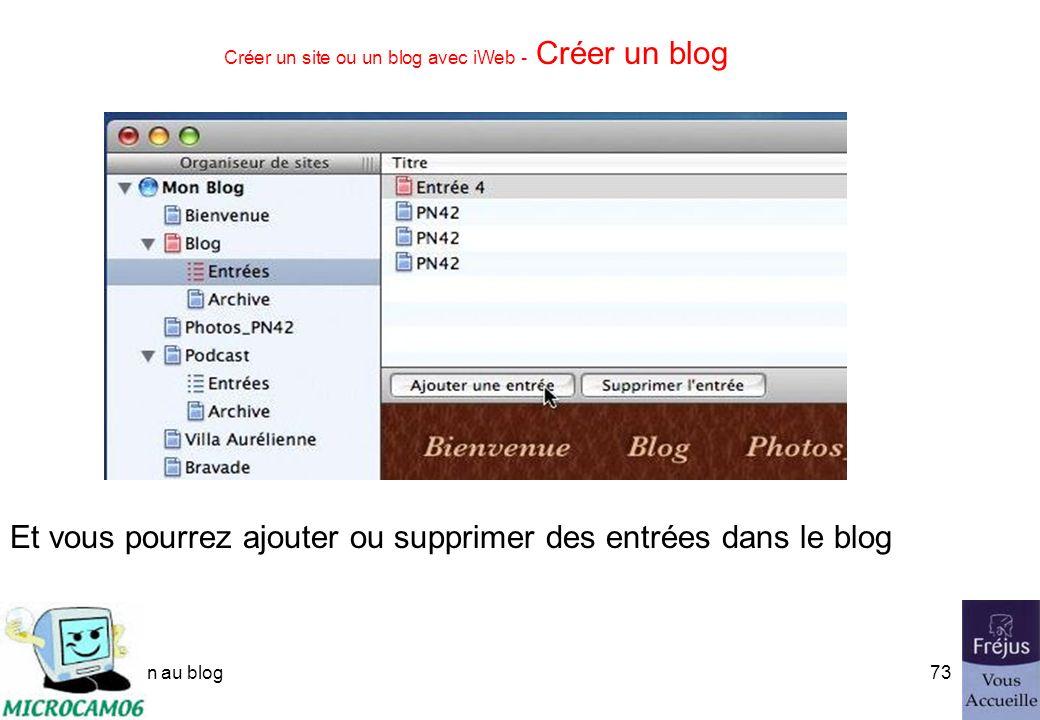 initiation au blog72 Créer un site ou un blog avec iWeb - Créer un blog Organiseur de sites Liens sur les pages