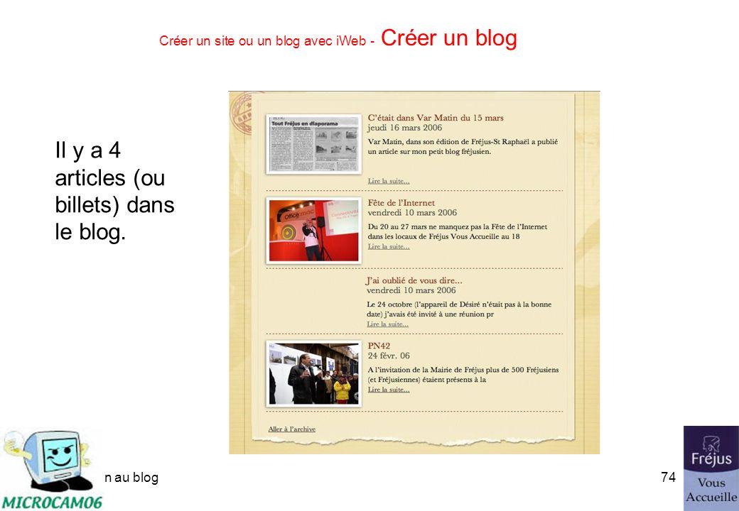 initiation au blog73 Créer un site ou un blog avec iWeb - Créer un blog Et vous pourrez ajouter ou supprimer des entrées dans le blog