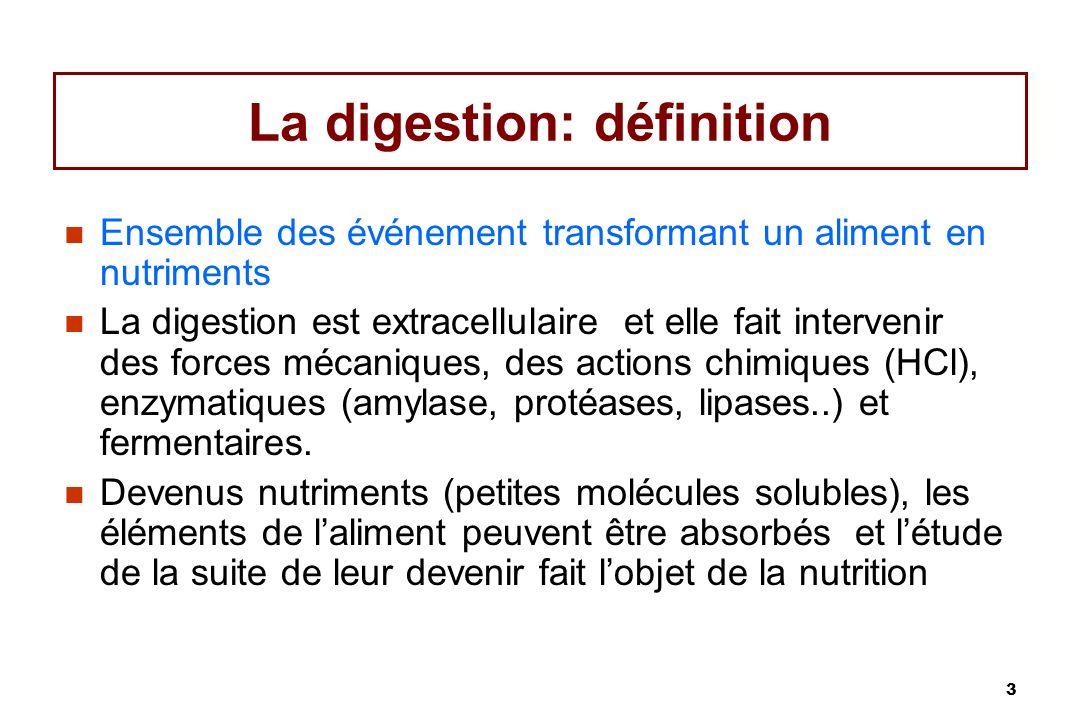 3 La digestion: définition Ensemble des événement transformant un aliment en nutriments La digestion est extracellulaire et elle fait intervenir des f