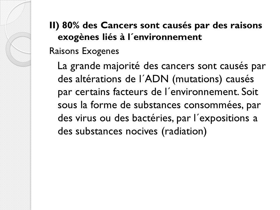 II) 80% des Cancers sont causés par des raisons exogènes liés à l´environnement Raisons Exogènes La grande majorité des cancers sont causés par des altérations de l´ADN (mutations) causés par certains facteurs de l´environnement.