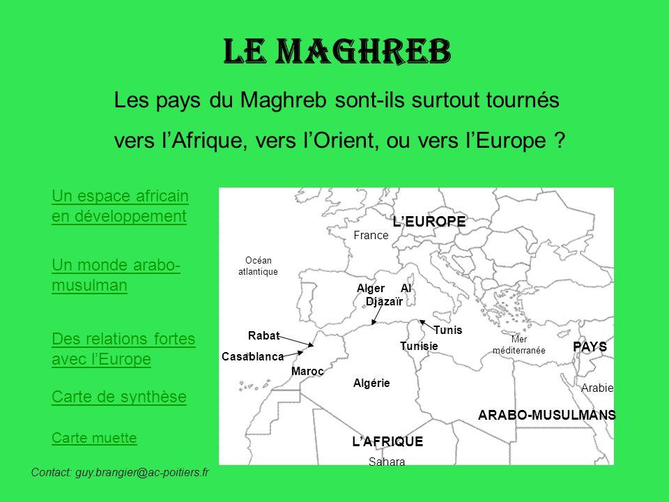 Le Maghreb Les pays du Maghreb sont-ils surtout tournés vers lAfrique, vers lOrient, ou vers lEurope ? Un espace africain en développement Un monde ar