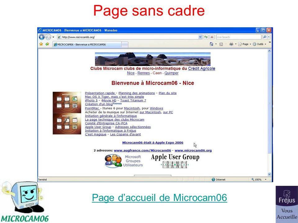 Page sans cadre Page daccueil de Microcam06