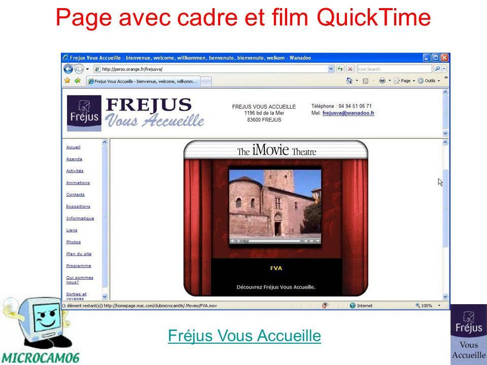 Page avec cadre et film QuickTime Fréjus Vous Accueille