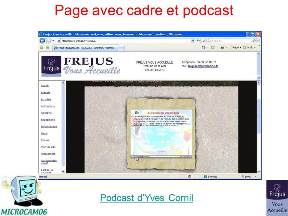 Page avec cadre et podcast Podcast dYves Cornil