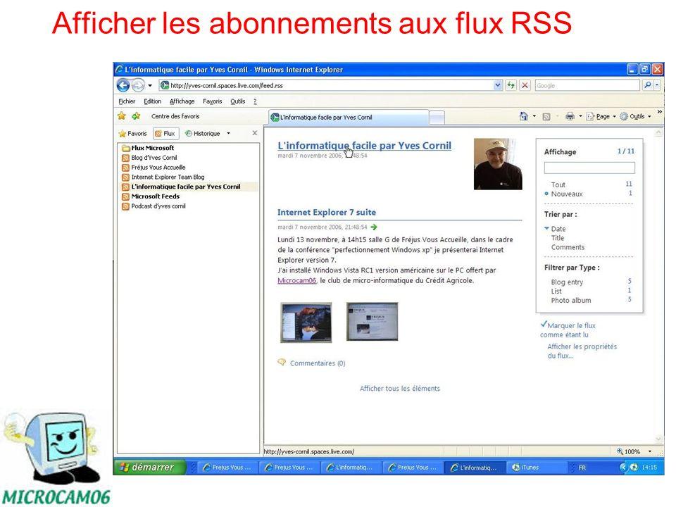 Afficher les abonnements aux flux RSS