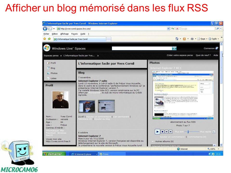 Afficher un blog mémorisé dans les flux RSS