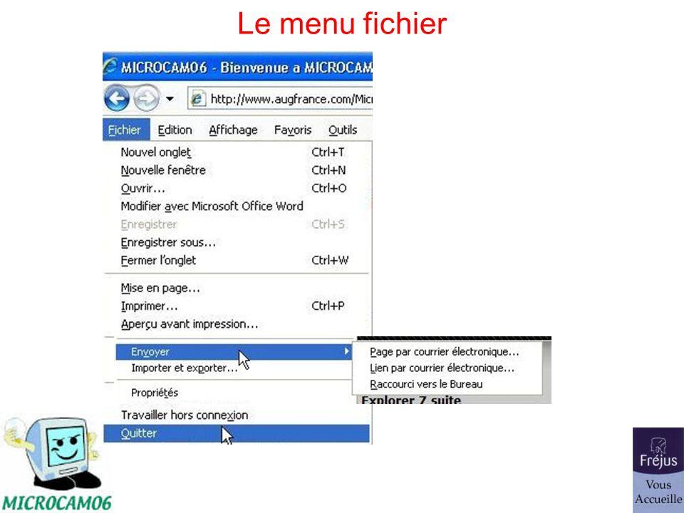 Le menu fichier