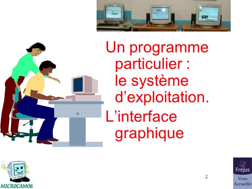 3 Le système dexploitation Le système dexploitation (Operating System, O.S.) est le programme principal qui réside en mémoire vive (RAM) et qui communique avec les différents composants électroniques (mémoire, processeur, périphériques …).