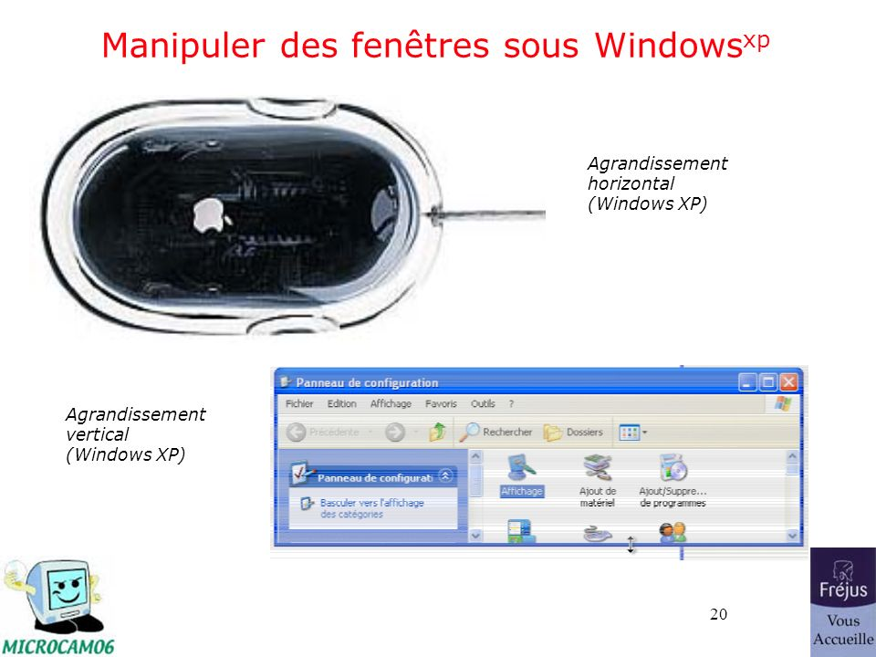 20 Manipuler des fenêtres sous Windows xp Agrandissement horizontal (Windows XP) Agrandissement vertical (Windows XP)